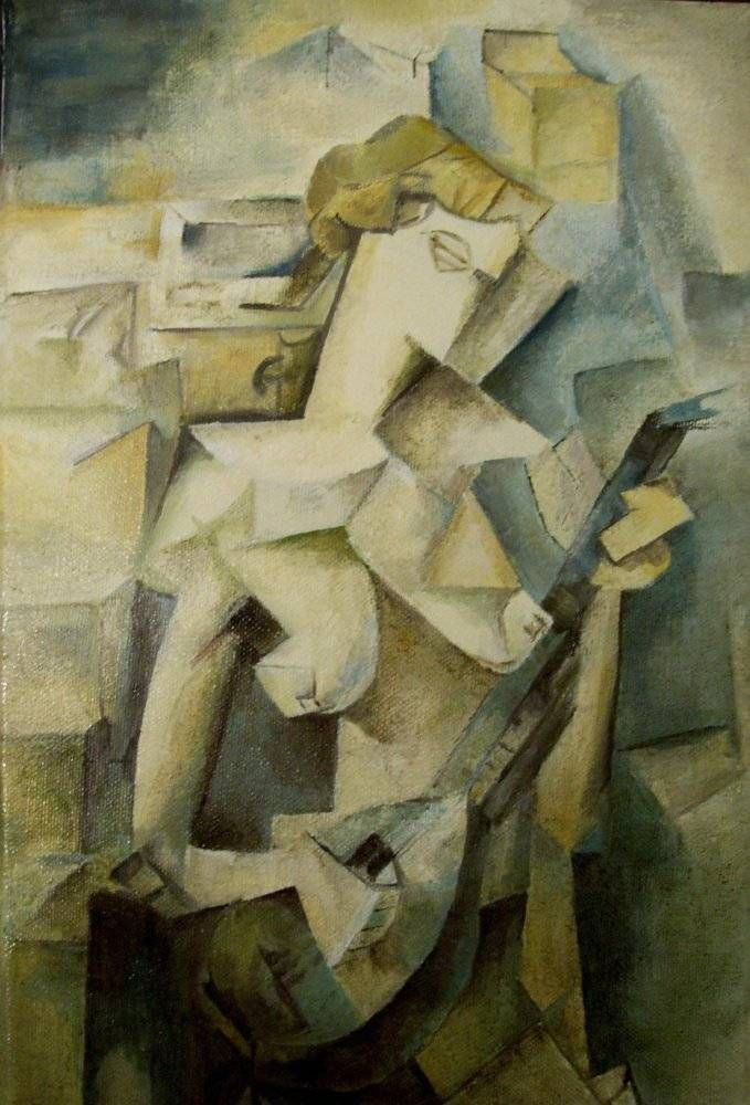 MUCHACHA CON MANDOLINA. 1910. Cubismo analítico.