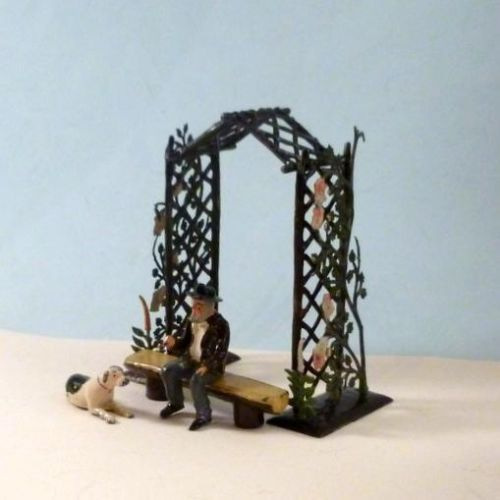 BRITAINS-Lead-Miniature-Garden-RUSTIC-ARCH-CLIMBING-ROSES-MAN-DOG-etc-1920-30s