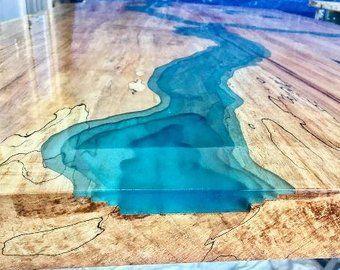 Live Edge Ambrosia Maple Blue Epoxy River Coffee Table