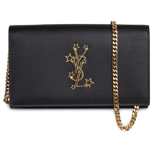 Saint Laurent YSL Chain Wallet Mono (€945) ❤ liked on Polyvore featuring bags, genuine leather shoulder bag, leather chain wallet, leather shoulder bag, genuine leather bags and star bag