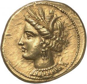 Statere - oro - Cartagine (350-270 a.C.) - recto: testa della dea Tanit con corona, collana e orecchini vs. sn. -  Münzkabinett der Staatlichen Museen Berlin