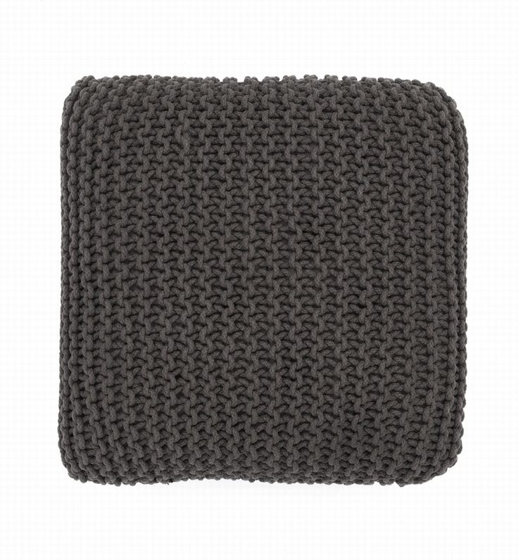 Knitted Floor Cushion Charcoal - Large