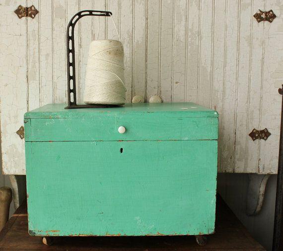 Antique Aqua Painted Pine Storage Box on by robinseggbleunest #vintageoffice #vintagestorage