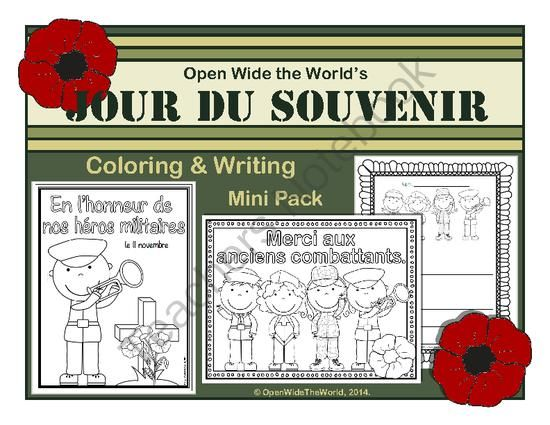 French Coloring & Writing Remembrance / Veterans Day Mini Pack from Open Wide the World on TeachersNotebook.com - (9 pages) - Observe Remembrance Day (aka Veterans Day or Jour du Souvenir) in your French immersion/dual language immersion programs with this mini pack of coloring sheets, writing papers, and a bubble map.