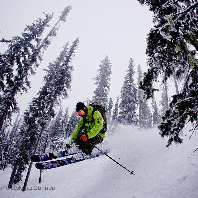 @pvelisek floating like a hovercraft at @bigredcats #catskiing  @khphotograph #skiing #ski #rossland #bc #catski #snowcats #powder #winter @laundromatstudios