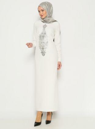 Baskılı Elbise - Ekru - ANNA