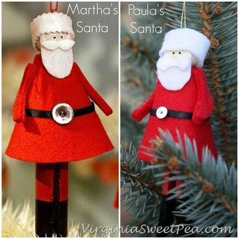 Martha Stewart Clothespin Ornaments | Clothespin Santas Martha vs Paula