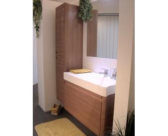 Arredobagno serie SIRIO in acero rosso, con base lavabo con lavello in tecnorit bianco, colonna contenitore e specchio con lampadaa led