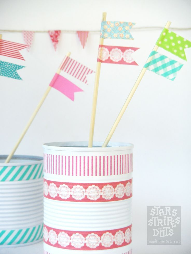 Tins and Flags decorated with Washi Tape