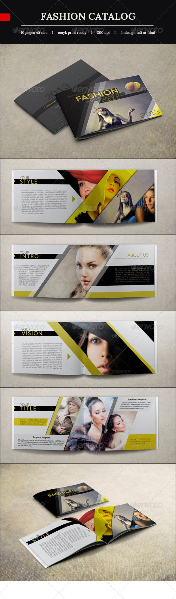Fashion Catalog  #GraphicRiver         10 Pages 210×148mm with bleed lines 300 DPI CMYK Print Ready idml and .indd files included   Note Photo are not included   Fonts Used   All fonts that i used are Free! Alex Brush :   .fontsquirrel /fonts/alex-brush Nexa     :   .fontsquirrel /fonts/nexa Lato     :    .fontsquirrel /fonts/lato     Created: 16May13 GraphicsFilesIncluded: InDesignINDD Layered: Yes MinimumAdobeCSVersion: CS PrintDimensions: 210x148 Tags: GoldenBrochure