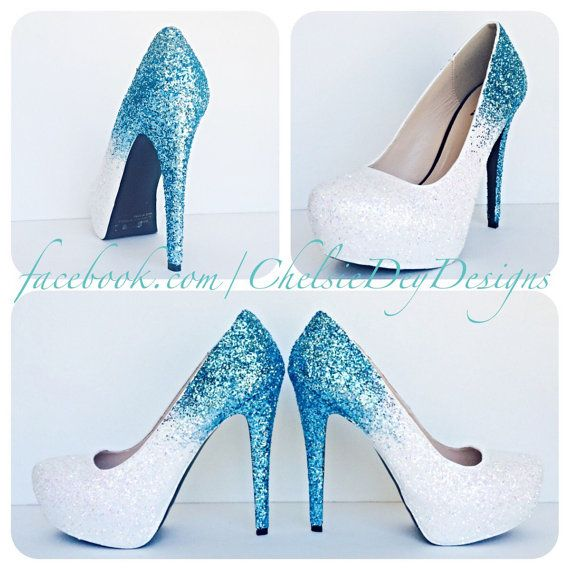 Glitter High Heels Blue and White Pumps Aqua by ChelsieDeyDesigns