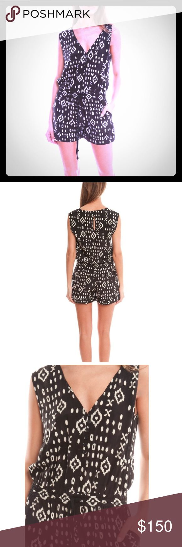 """Pam& Gela 100% silk Romper M Pam& Gela 100% silk Romper size M Retail $325 NWT   This printed romper is crafted in 100% silk making it luxurious and elegant for any occasion.   - Color: Black/White  - 100% Silk  - Dry Clean Only   * Model is 5'9"""" wearing size S Pam & Gela Pants Jumpsuits & Rompers"""