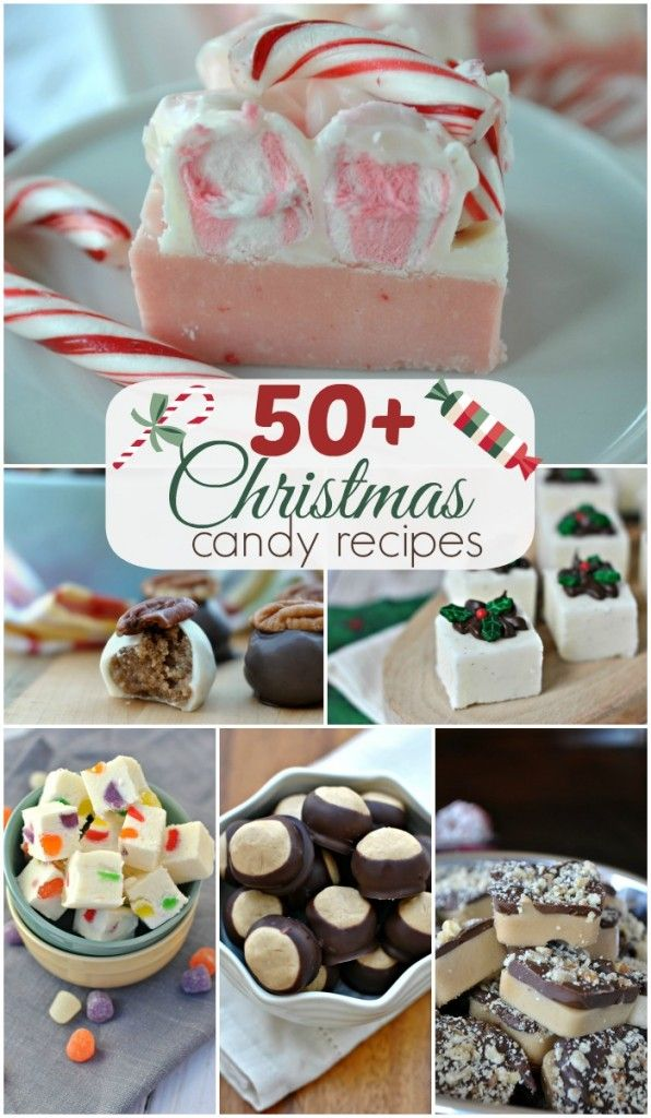 Over 50 Christmas Candy recipe ideas! Perfect for hostess gifts, teachers, family and friends!