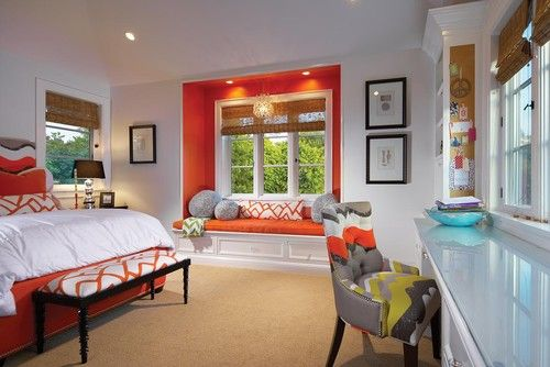 bedroomDecor, Bays Windows, Ideas, Bedrooms Design, Windows Seats, Reading Nooks, Accent Colors, Eclectic Bedrooms, Window Seats