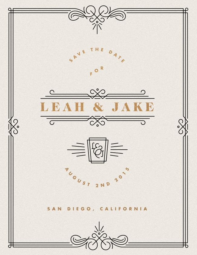 Simple & elegant save the date, with some nice art deco elements!