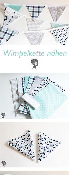 DIY: Wimpelkette nähen - Anleitung num Nähen einer Wimpelkette aus Stoff #diy #nähen #sewing #wimpelkette #wimpel #tutorial #anleitung