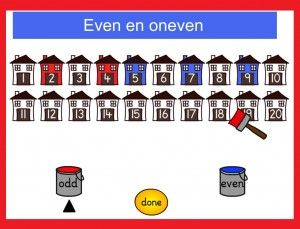 Even en oneven met kleuters op digibord of computer, kleuteridee / odd and even game for preschoolers in IWB or computer