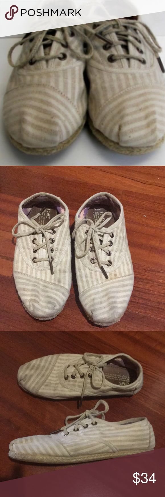 TOMS Cordone beige striped espadrilles woven lace Toms cordone Beige striped espadrilles woven laces, special edition toms. In excellent pristine condition. Size women's 6.5, worn only once. Love this make of TOMS! Offers welcome. Toms Shoes Flats & Loafers