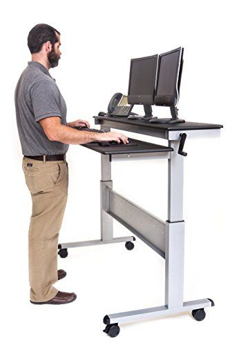 """60"""" Crank Adjustable Height Sit to Stand Up Desk with Heavy Duty Steel Frame (Black Shelves / Silver Frame)"""