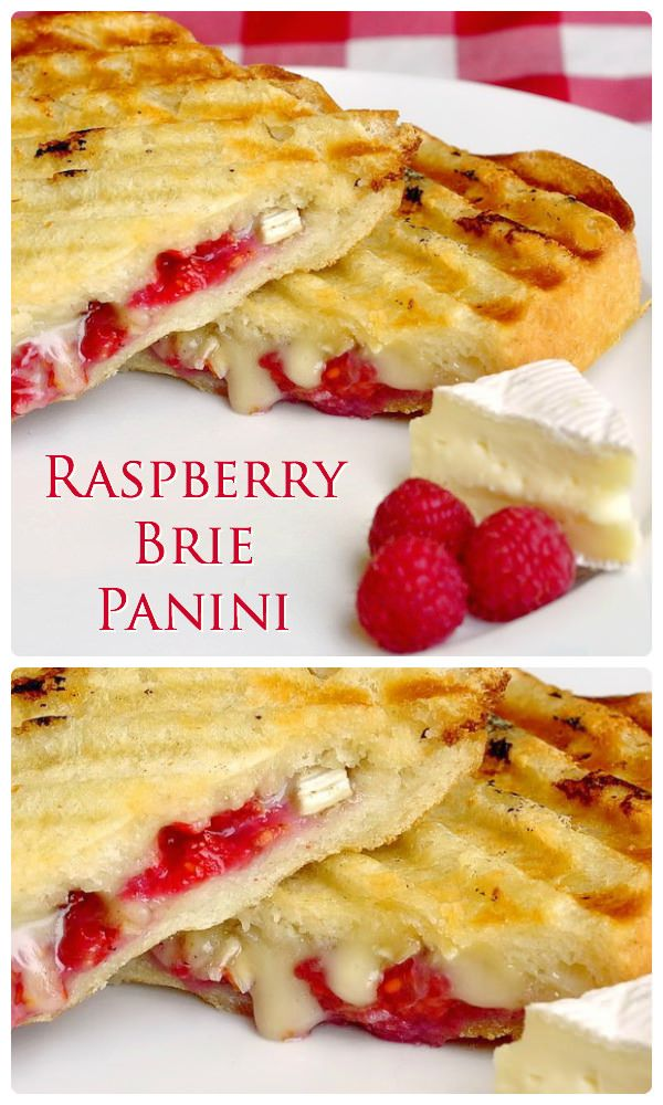 You might call this raspberry brie panini a posh grilled cheese but it's a versatile idea that's an indulgent lunch treat but I've even cut them into hors d'ouevre size for cocktail parties. They are always a big hit!
