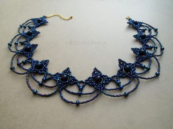 Free pattern for beautiful necklace Cold Evening