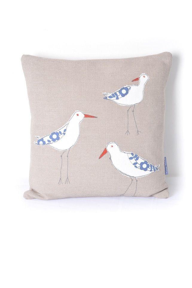 Applique Cushion Oystercatchers, pale brown bird, grey beak, duck egg blue wing