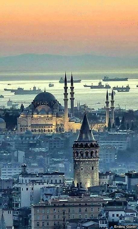 Galata Tower, Suleymaniye Mosque, Bosphorus = Istanbul.