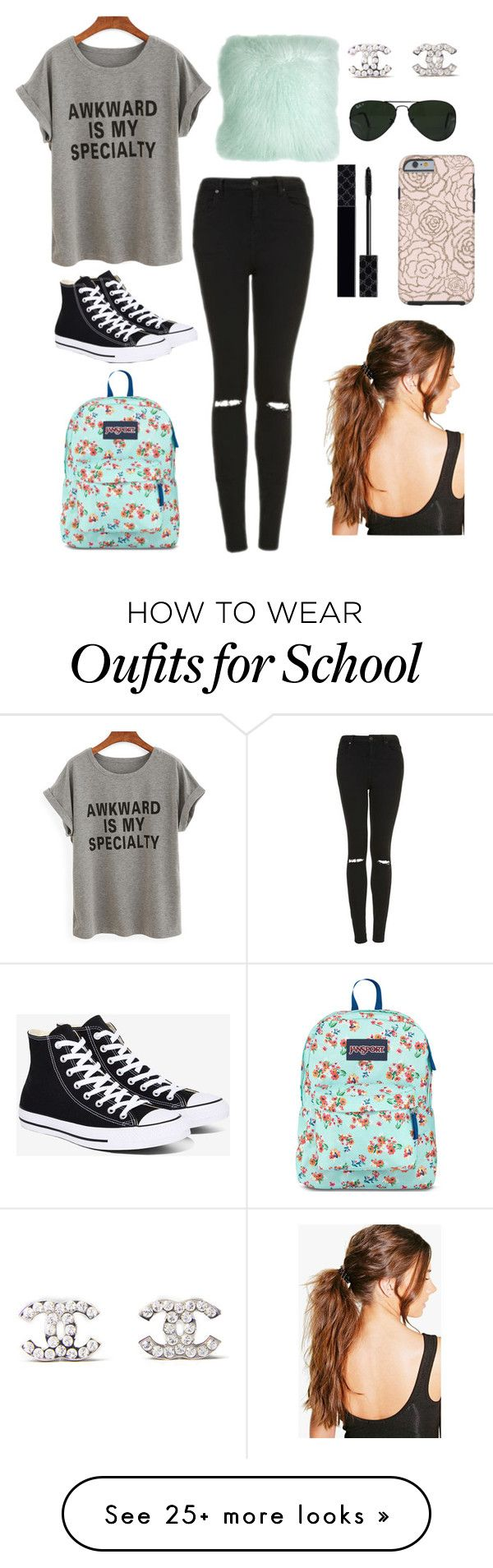 """""""In school....last day"""" by stinkerbelle2000 on Polyvore featuring Topshop, Converse, JanSport, Pillow Decor, Chanel, Ray-Ban, Gucci and Boohoo"""