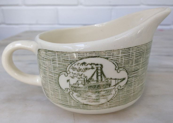 vintage antique Currier Ives Royal China Creamer Robert E Lee Steamboat  Green by MotherMuse on Etsy