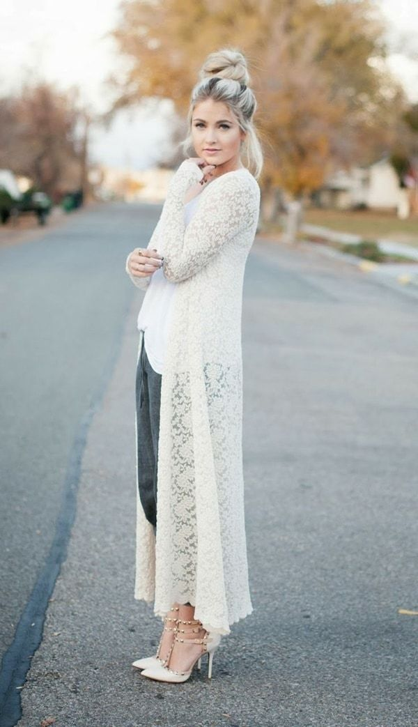 Stylish Chic Long Cardigan Outfits For Ladies (20)