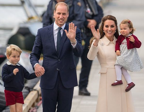 Kate Middleton and Prince William, Prince George and Princess Charlotte at Victoria Harbour Airport in Victoria