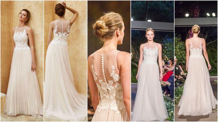 sensueel trouwjurk van Enzoani - zachte tule, vallende stof en prachtige rugdecollete