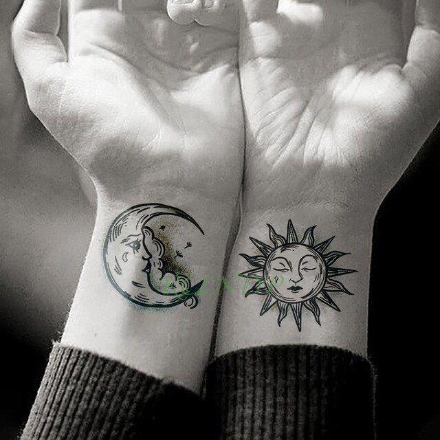 Waterproof Temporary Tattoo Sticker Sun Moon Fake Tatto Flash Tatoo Tatouage Hand Foot Arm For Men Women Girl
