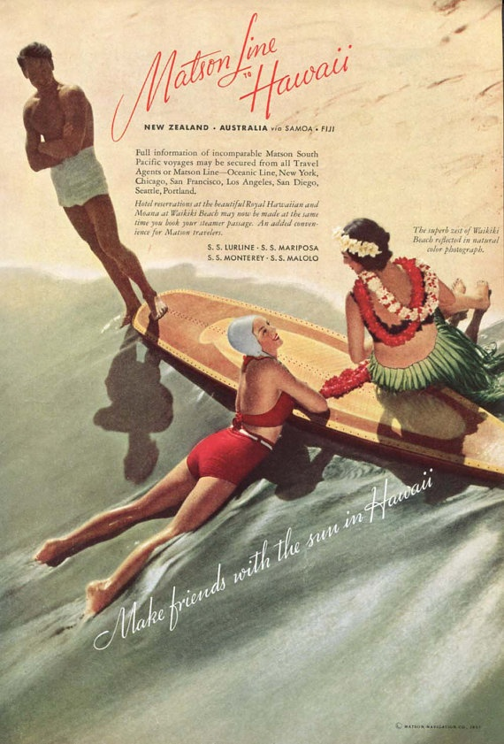 Hawaii Travel Ad 1930s Matson Line