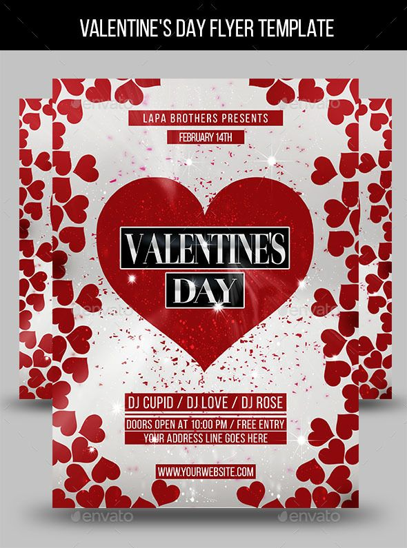 Valentine S Day Flyer Template Fonts Logos Icons Pinterest