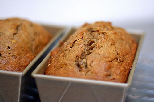 "my fave banana bread recipe - ""jacked-up banana bread"" - smitten kitchen never fails. Bourbon is NECESSARY (I did 2T, not 1T). Used 1 1/4 cup flour, 1/4 cup ground flaxseed. Best!!"