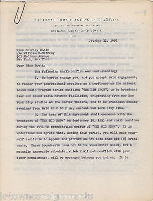 SHIRLEY BOOTH HAZEL TV ACTRESS ORIGINAL NBC SHOW APPEARANCE CONTRACT 1951