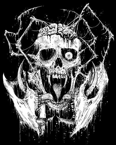 Death metal art gruesome black and white skull drawings by mark riddick http