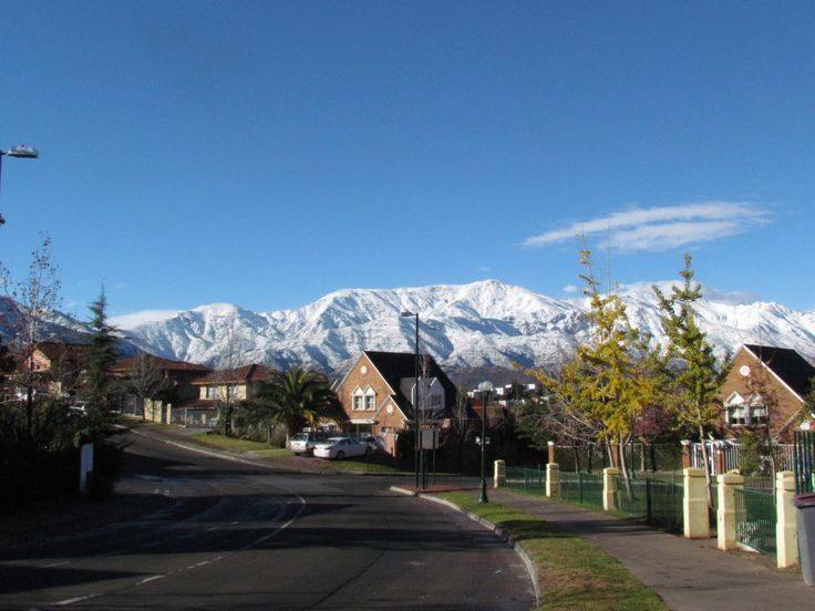 Snow capped Andes mountains from our house