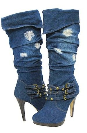 Stylish distressed denim knee-hi boots, love me some denim!!