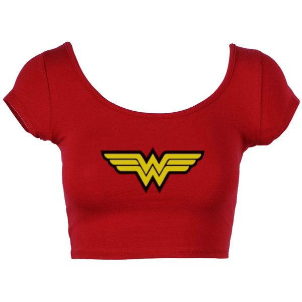 wonder woman crop top shirt, women shirt, junior shirt ($20) ❤ liked on Polyvore featuring tops, shirts, crop top, shirts & tops, red lips shirt, lip print shirt and red crop top