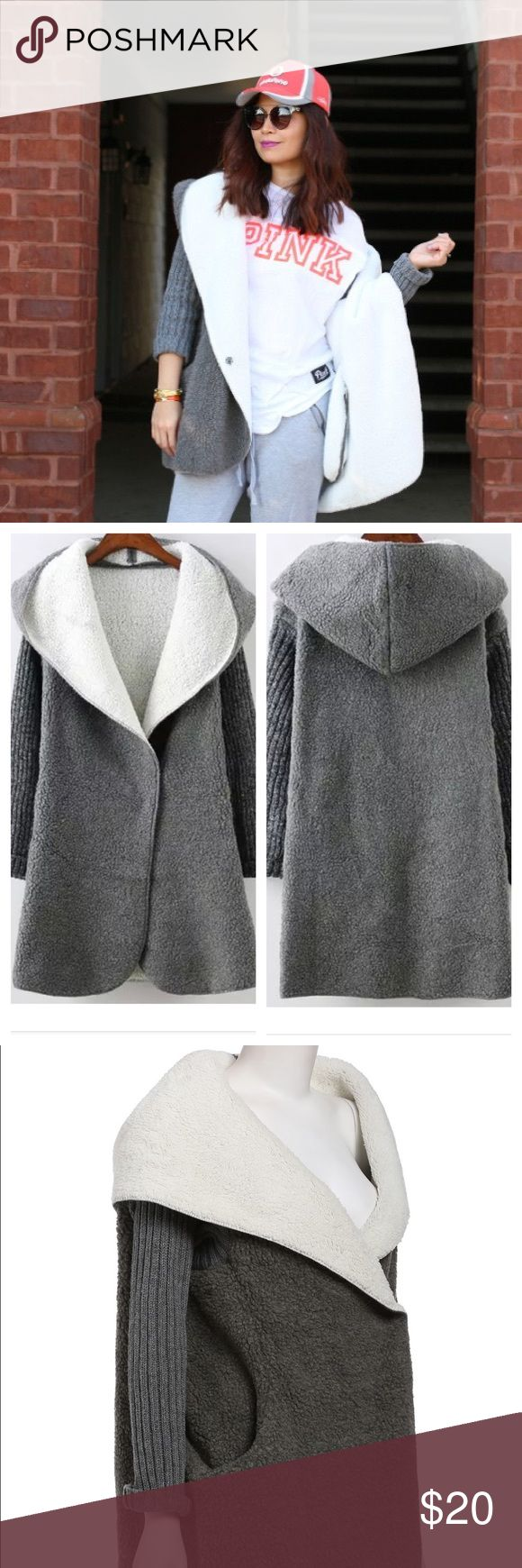 Gray hooded long sweater coat The comfiest and coziest sweater coat. Material is super soft and comfy. Oversized fit with oversized hoodie. Inner is white. Huge pockets on sides. Ribbed sleeves. Will fit small to medium Jackets & Coats