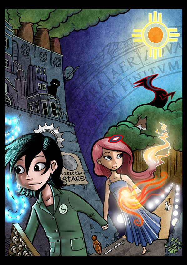 Gunnerkrigg Court follows the conflicts and harmonies of scienctific and arcane forces as two friends learn about the deep history of gods, robots, and their strange school on the edge of a mystical forest.  More at gunnerkrigg.com!