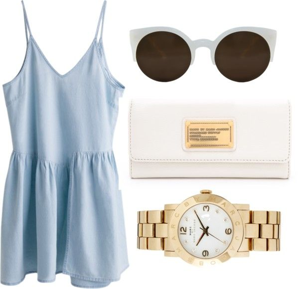 summer dress; light blue/ periwinkle with white and gold accessories :)