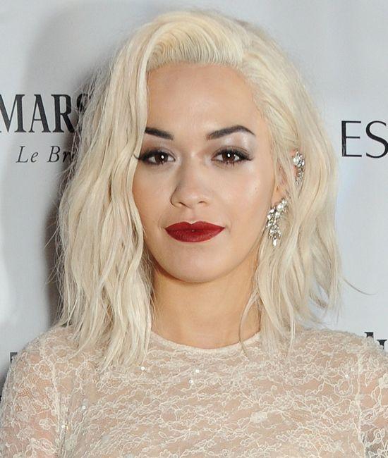 Rita Ora - platinum blonde hair / tousled lob / bob / red ...