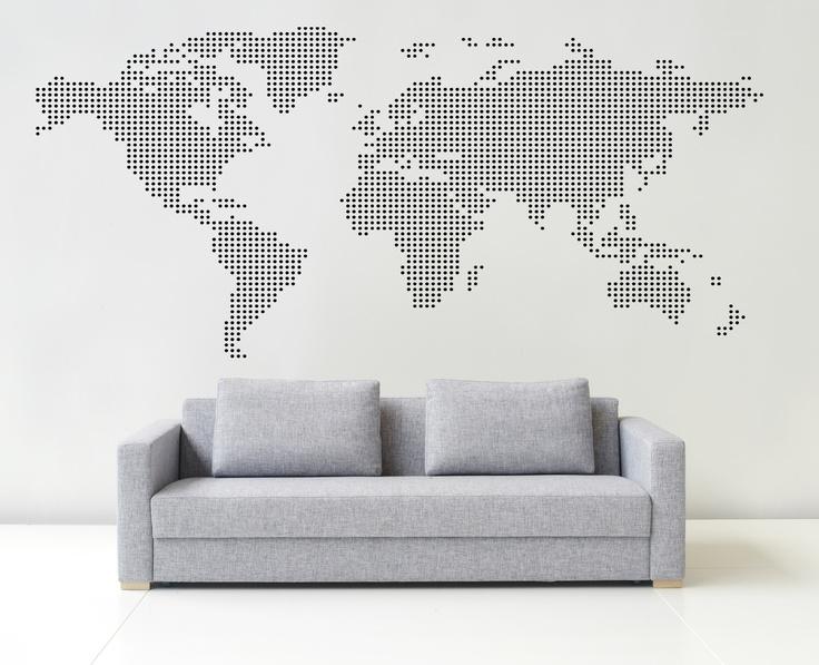 Världskarta i prickar. Väggdekor