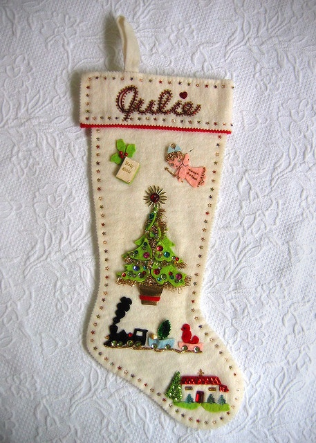 Pretty stocking with detailed decoration.