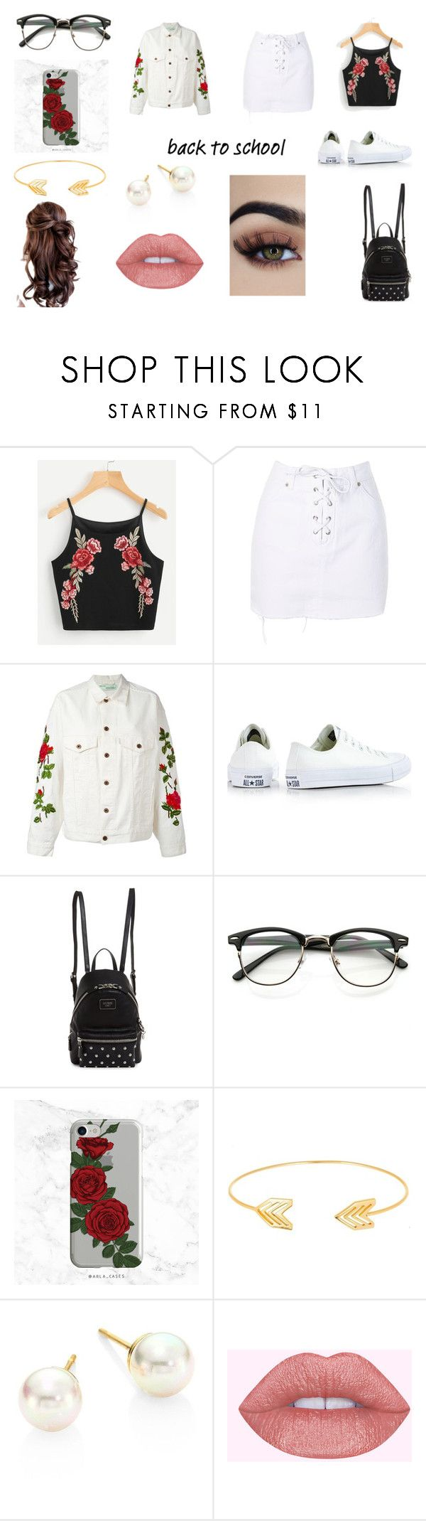 """""""Back to school"""" by mariavv28 ❤ liked on Polyvore featuring Topshop, Off-White, Converse, GUESS, Lord & Taylor and Majorica"""