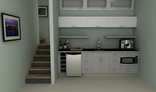 An IKEA basement kitchenette with high-gloss doors in ABSTRAKT WHITE.