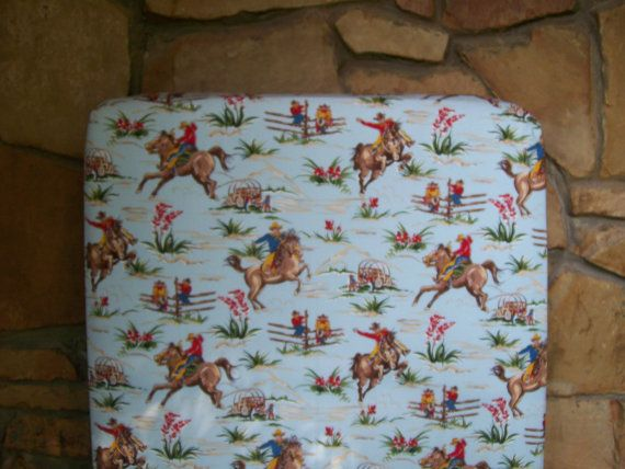 Custom Crib Sheet Horses And Cowboys Baby Bedding Blue Red